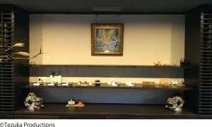 平等院 茶房藤花にて火の鳥ジュエリー絵画を展示いただいております。